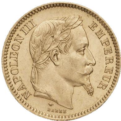 "20 френски франка ""Наполеон ІІІ"" с лавров венец"