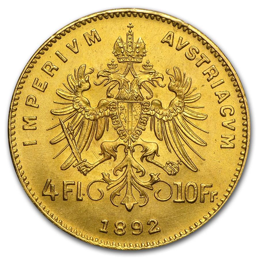 Златна монета Франц Йосиф - 4 Флорина/10 Франка