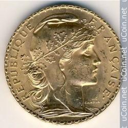 20 френски франка 1910 г -Мариана, пр.900