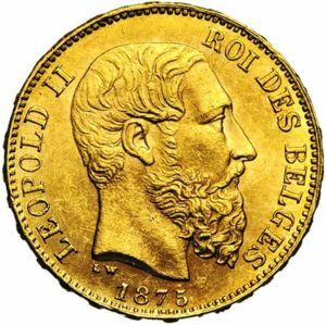 20 белгийски франка 1875 г - Леополд, пр.900