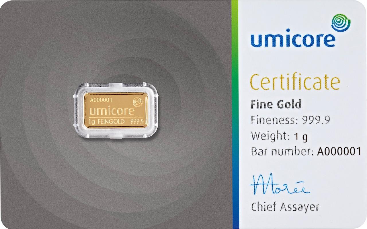 Златно кюлче 1 г(със сертификат)