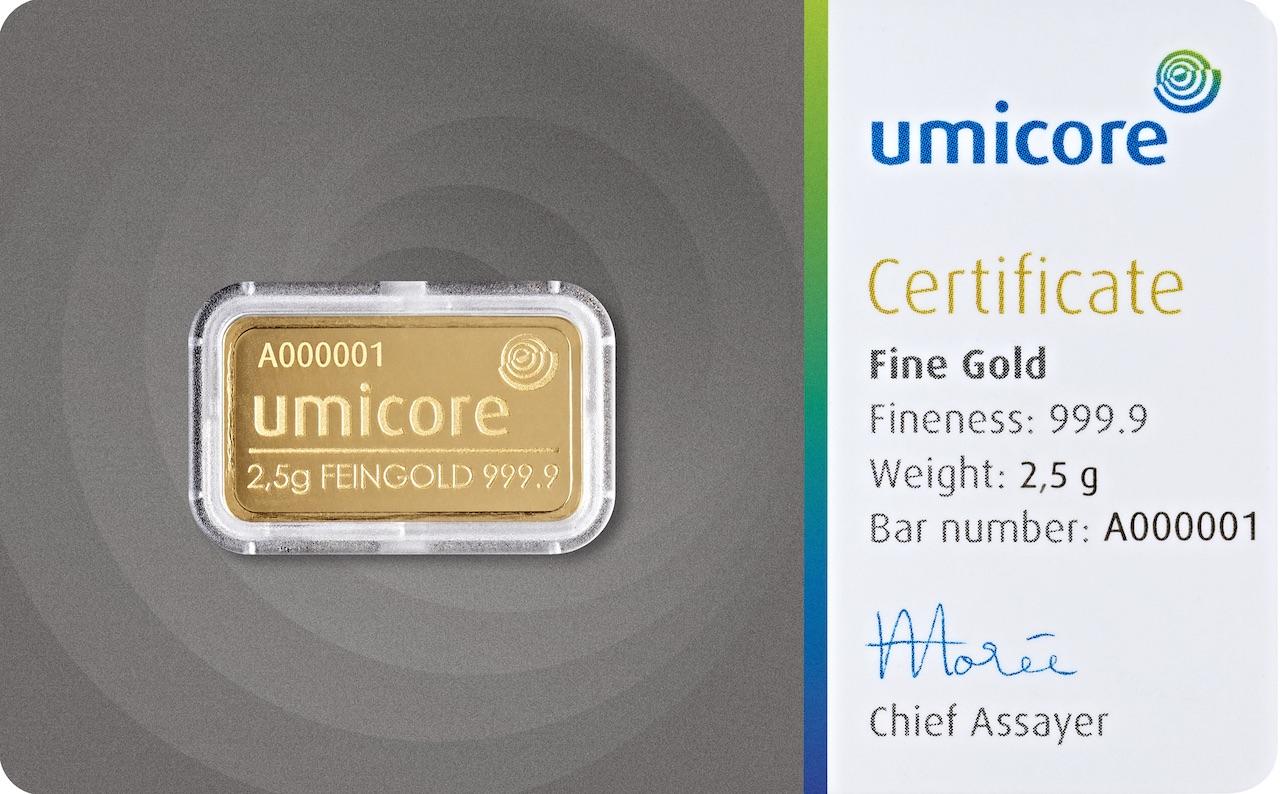 Златно кюлче 2,5 г (със сертификат)