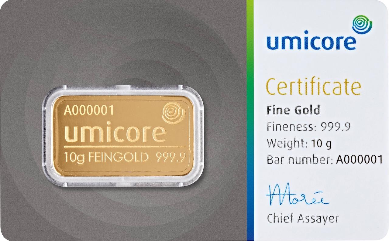 Златно кюлче 10 г (със сертификат)