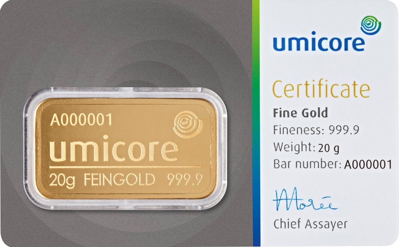 Златно кюлче 20 г (със сертификат)