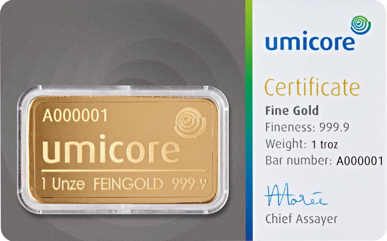 Златно кюлче 1 тройунция (със сертификат)