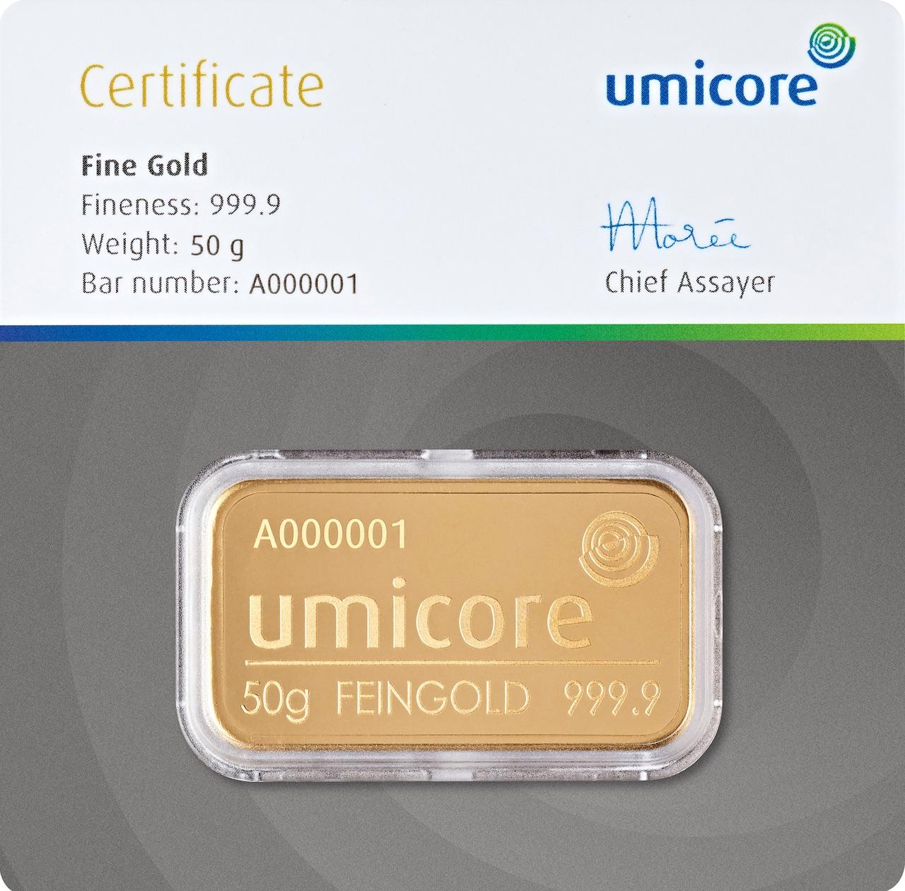 Златно кюлче 50 г (със сертификат)