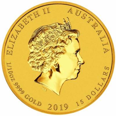 Златна монета Австралийски Лунар 2019- Година на Прасето 1/10 унция