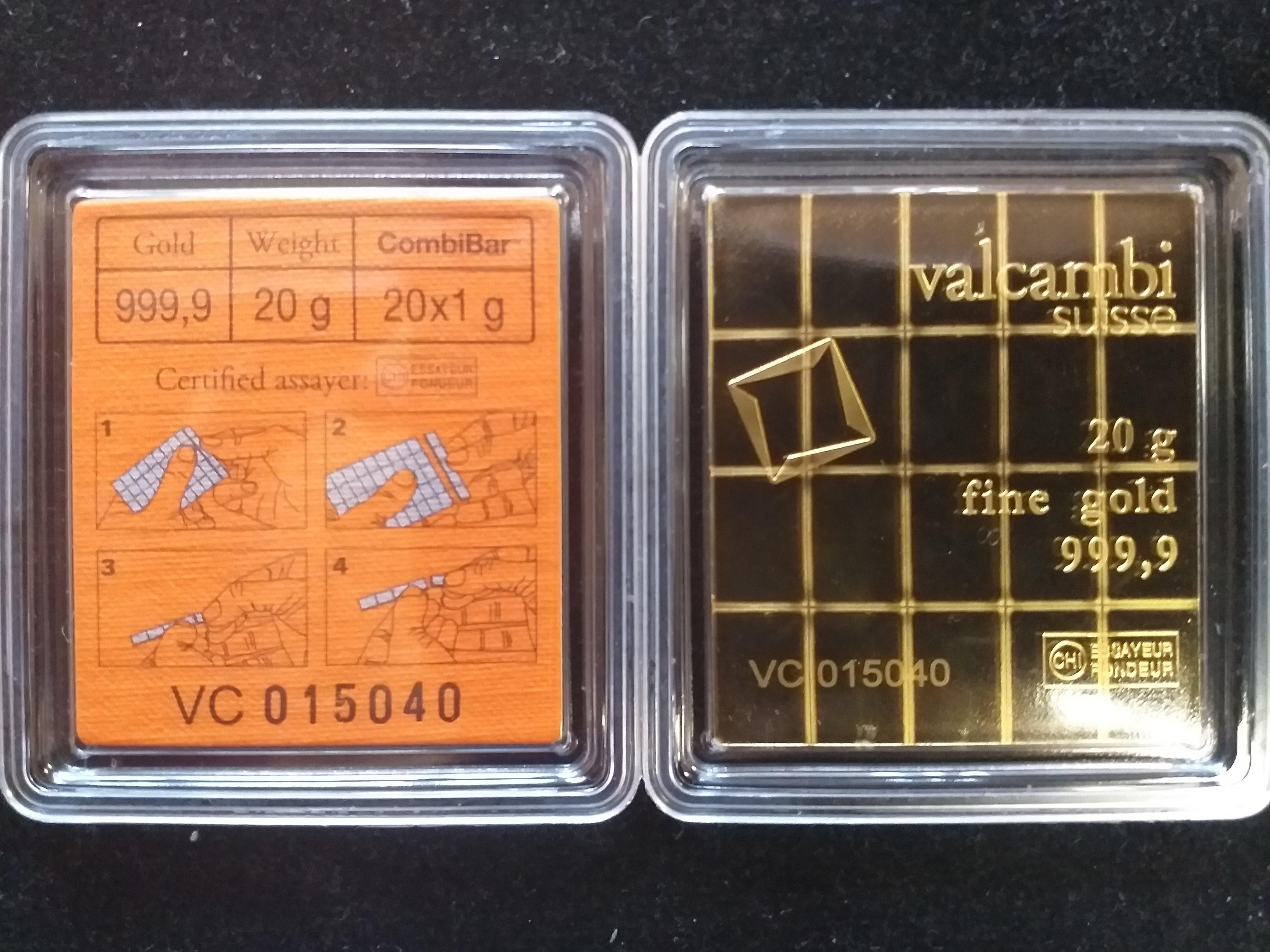 Златно кюлче 20 х 1 гр., Valcambi