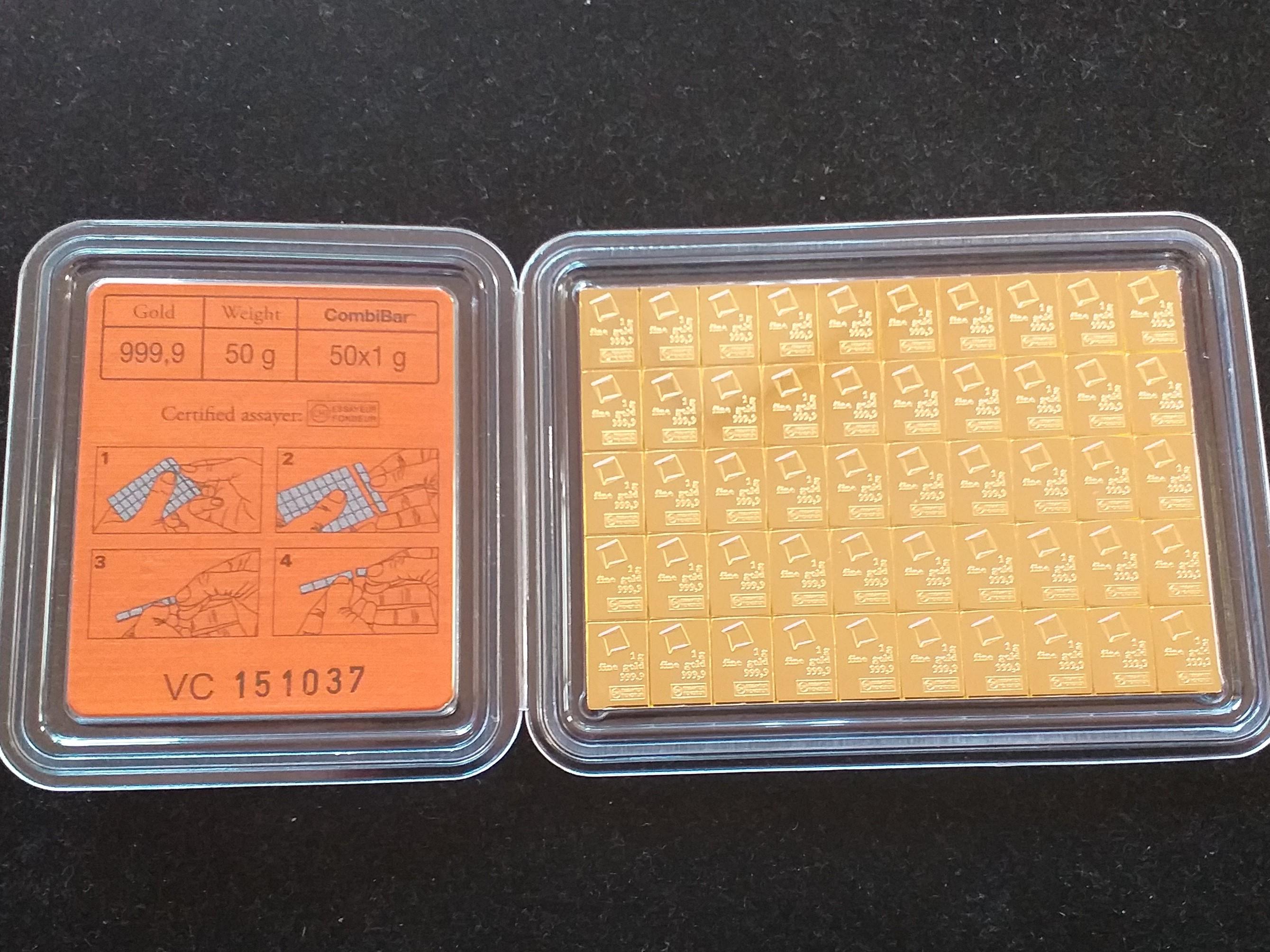 Златно кюлче 50 х 1 гр., Valcambi